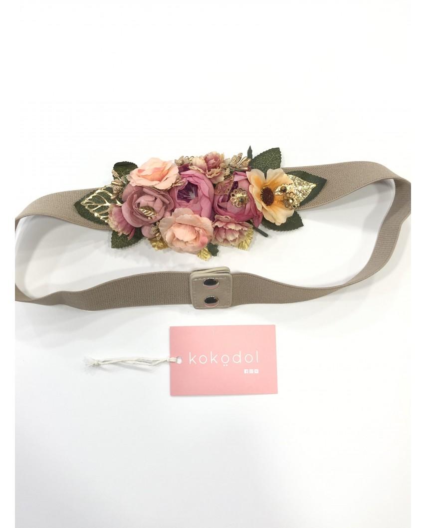 Kokodol.com - Cinturón Flores Hojas Rosa