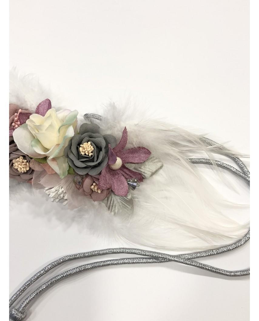 Kokodol.com - Cinturón Plumas Flores - Blanco