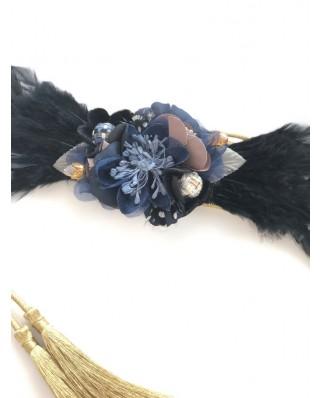 Kokodol.com - Cinturón Flores Plumas - Negro