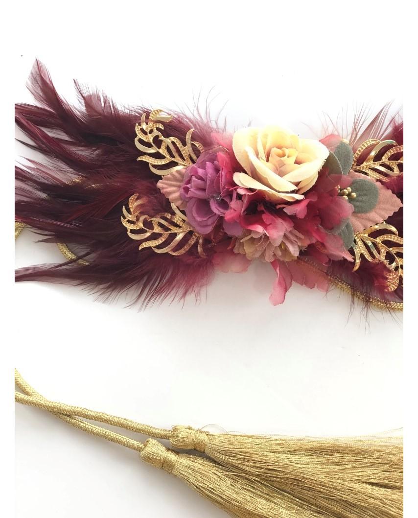 Kokodol.com - Cinturón Plumas Flores - Burdeos