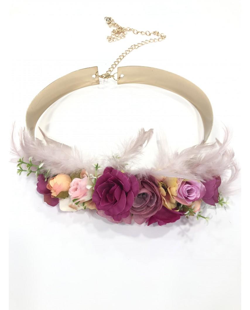 Kokodol.com - Cinturón Flores Plumas Karrey - buganvilla