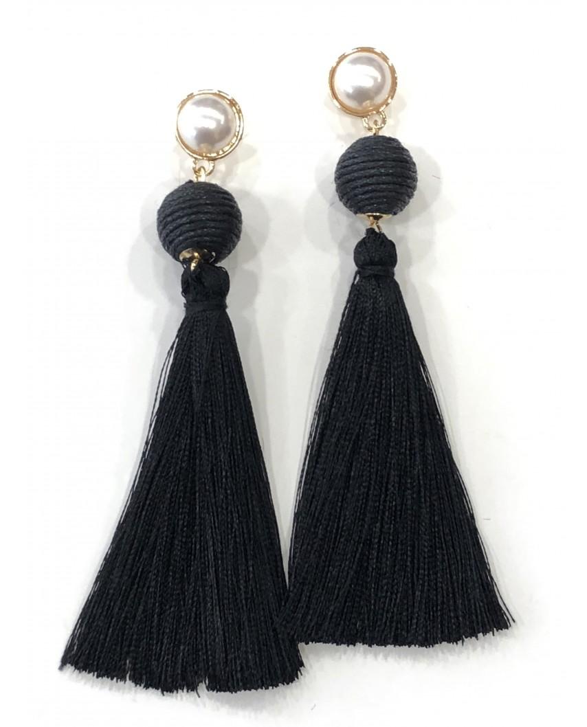 Kokodol.com - Pendientes Pompon Perla - negro