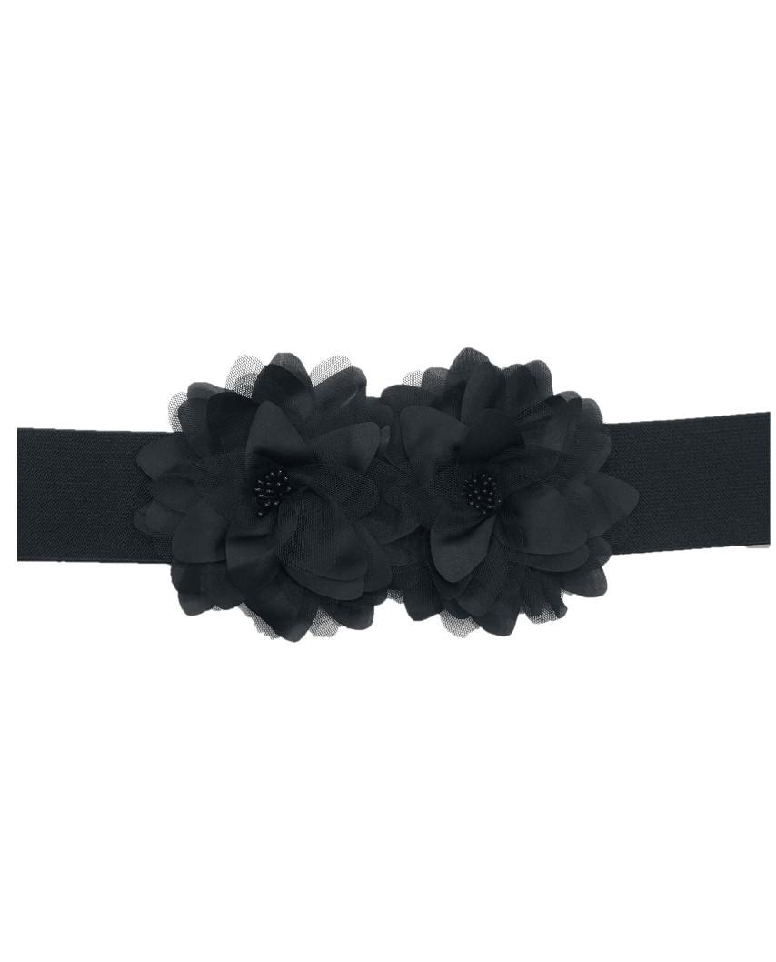 Kokodol.com - Cinturón Flores Tela Mara - negro