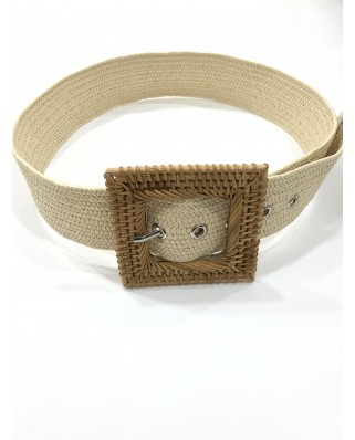 kokodol.com - Cinturón Mimbre Hebilla Cuadrada
