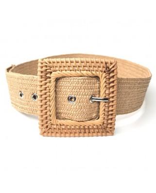kokodol.com - Cinturón Hebilla Cuadrada Mimbre marrón