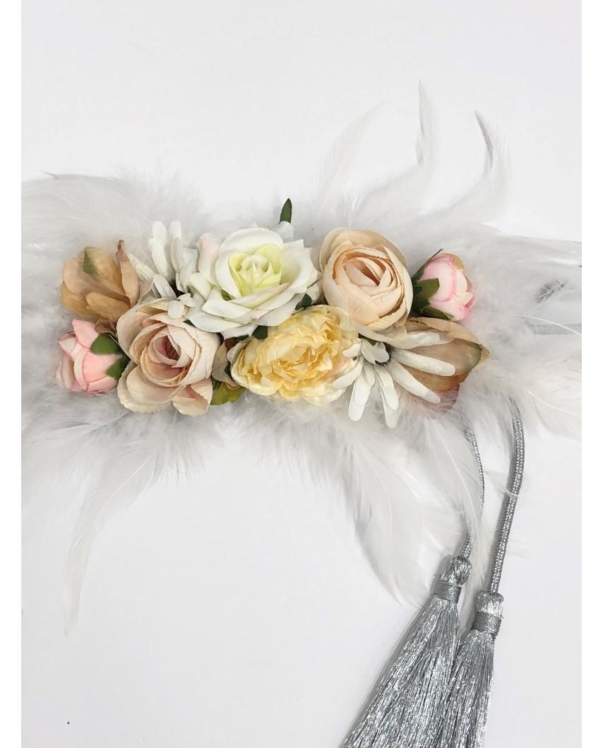 kokodol.com - Cinturón Flores Plumas Isabel blanco