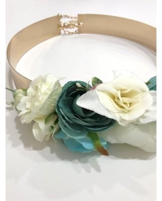kokodol.com - Cinturón Flores Plumas Valentina verde