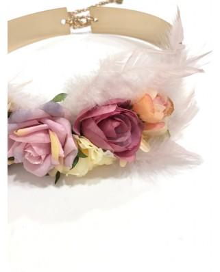 kokodol.com - Cinturón Latón Flores Irina rosa