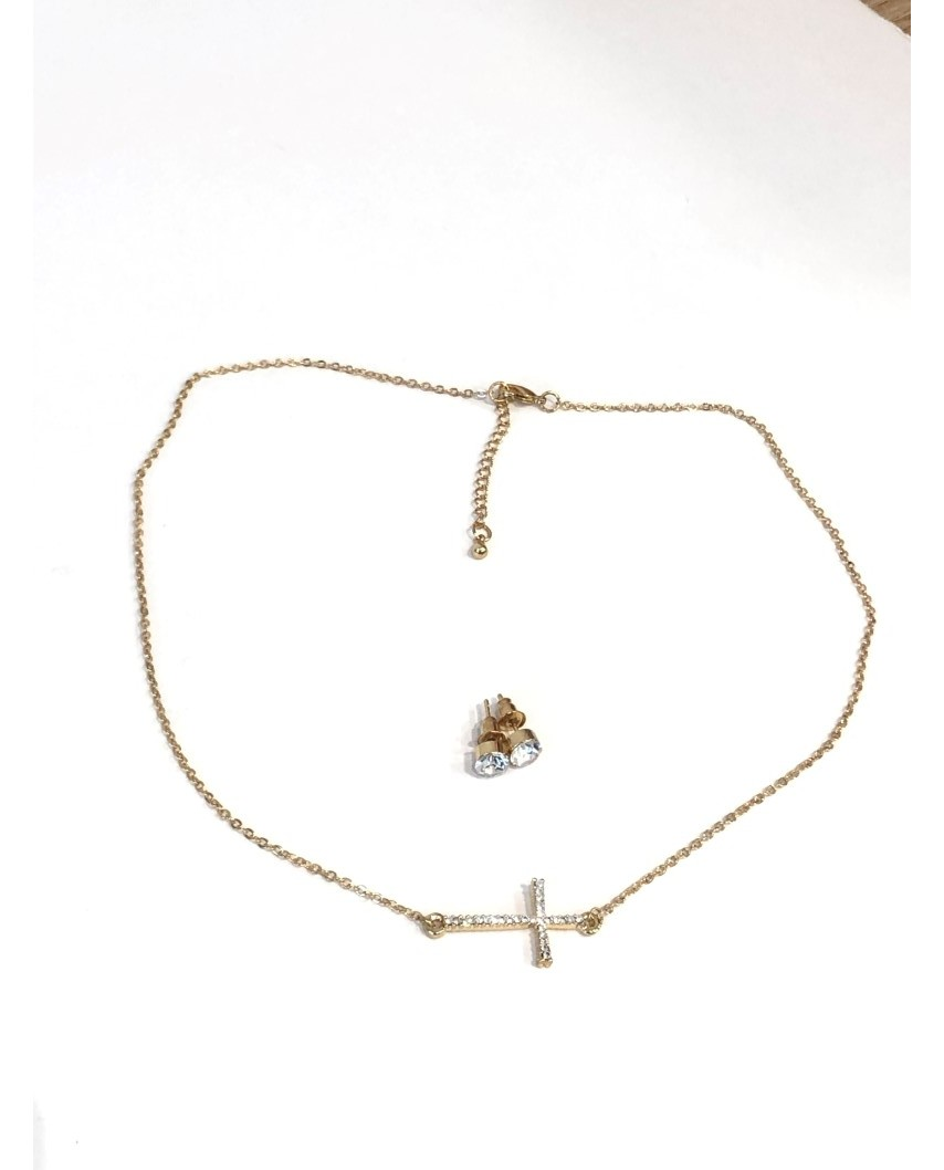 kokodol.com - Set pendientes + colgante cruz dorado