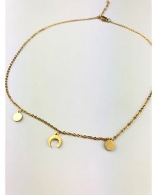 kokodol.com - Collar Luna (acero) dorado