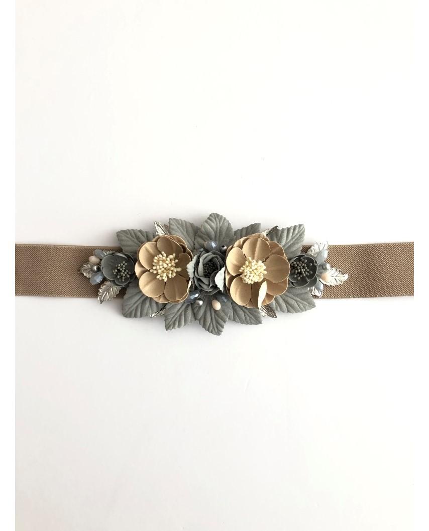 kokodol.com - Cinturón Flores gris/beig