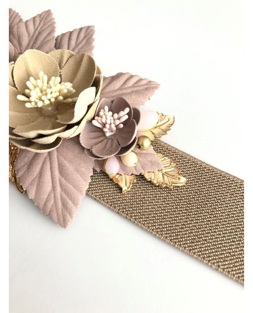 kokodol.com - Cinturón flores nude/beig