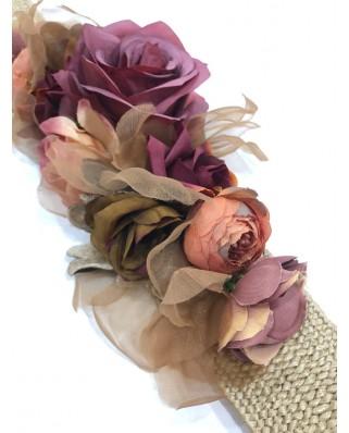 kokodol.com - Cinturón Flores Mimbre Luciana burdeos