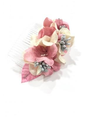 kokodol.com - Tocado Flores Katya rosa/blanco