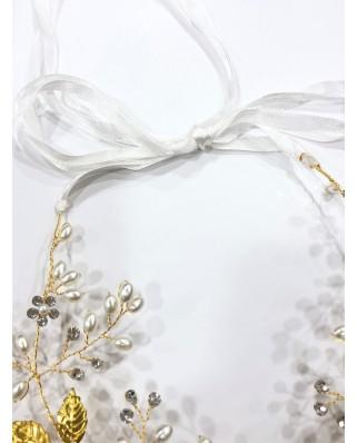 kokodol.com - Diadema Hojas Perlas Paris dorado