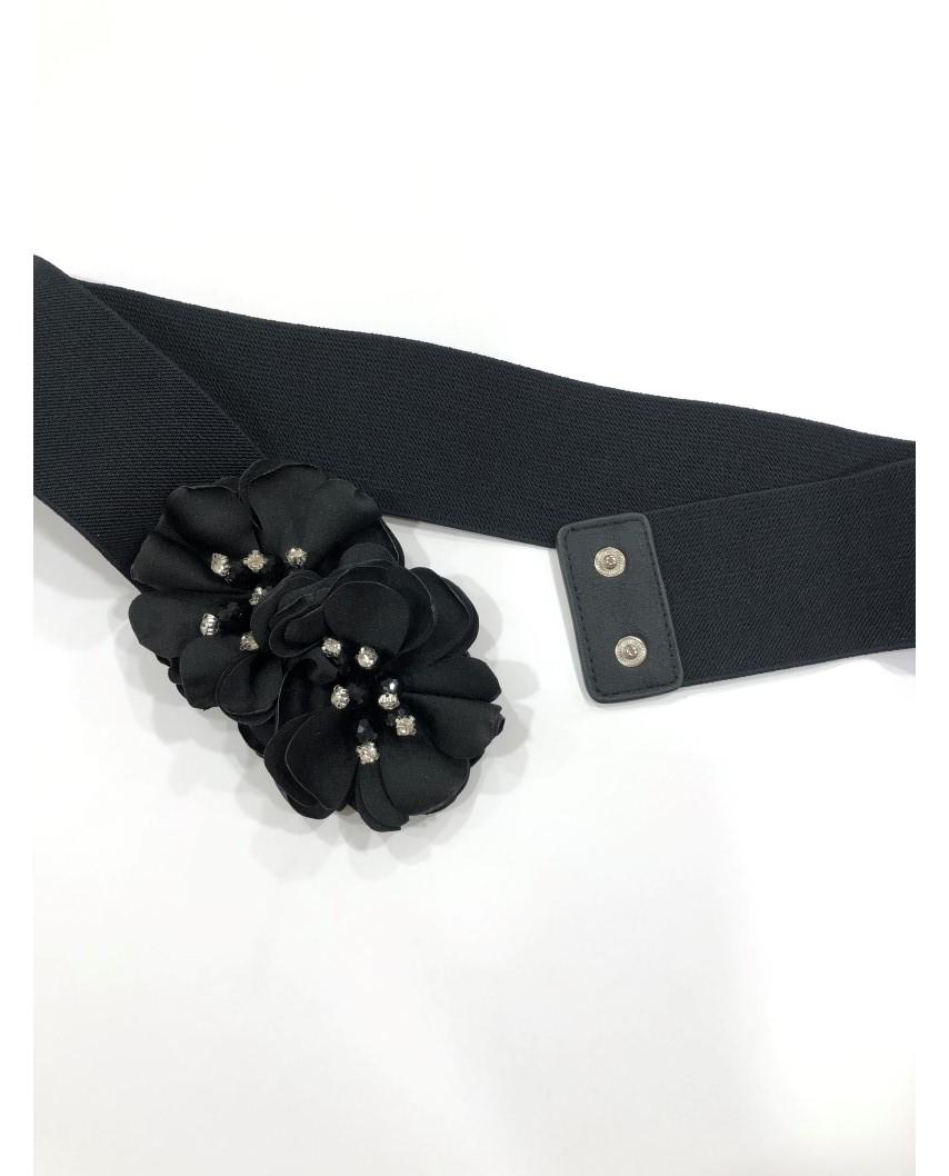 kokodol.com - Cinturón Flores Pedrería negro