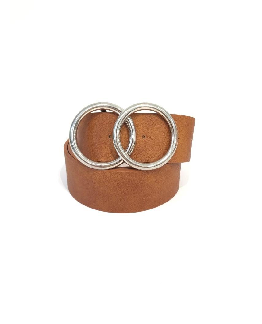 kokodol.com - Cinturón Hebilla circulos plata marrón