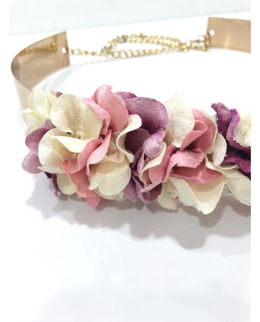 kokodol.com - Cinturón Flores Latón Patricia rosa