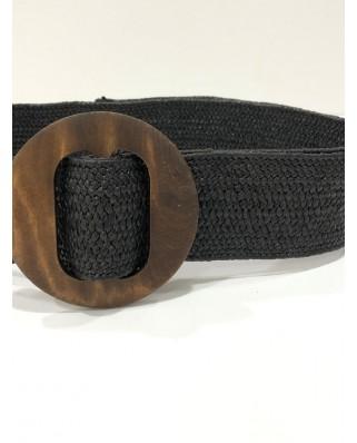 kokodol.com - Cinturón Mimbre Hebilla Redonda Venus negro