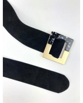 kokodol.com - Cinturón Hebilla Cuadrada Ante negro
