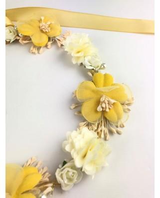 kokodol.com - Diadema Corona Flores Kiram amarillo
