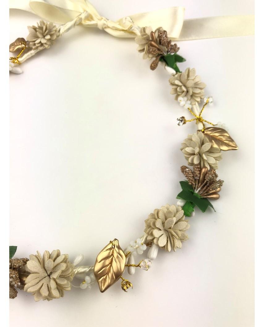 kokodol.com - Diadema Corona Flores Mila beig