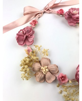 kokodol.com - Diadema Corona Flores Roman rosa