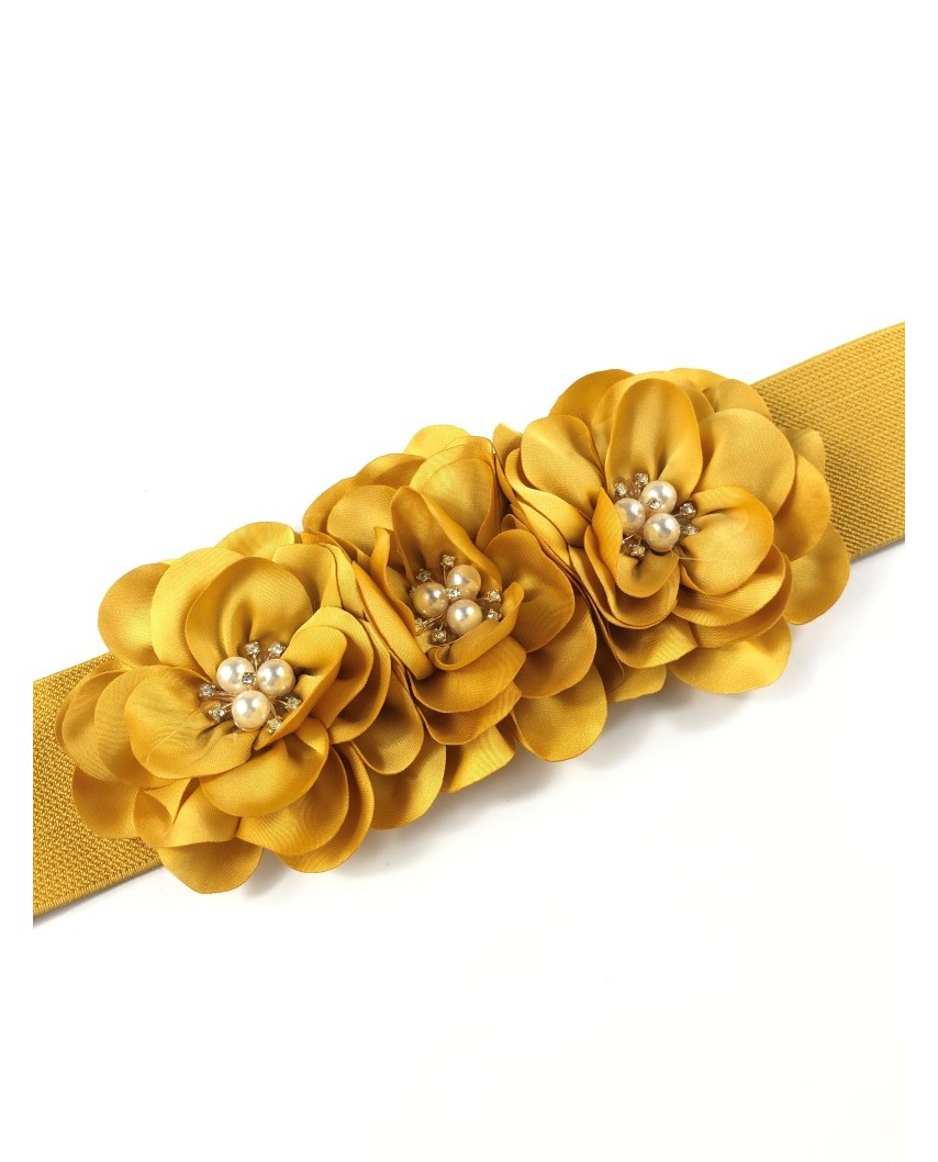 kokodol.com - Cinturón Flores Goma Bangkok mostaza