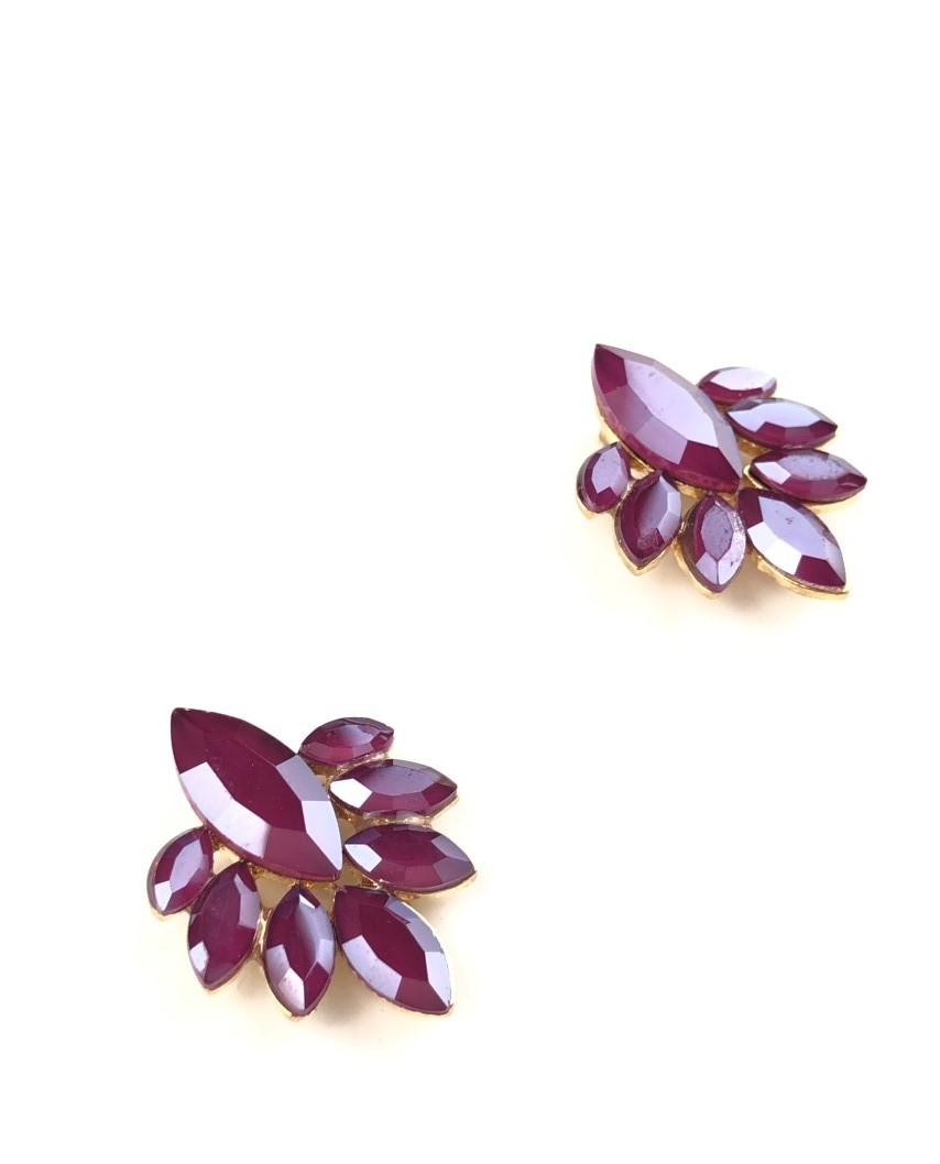 kokodol.com - Pendientes Botón Flor morado