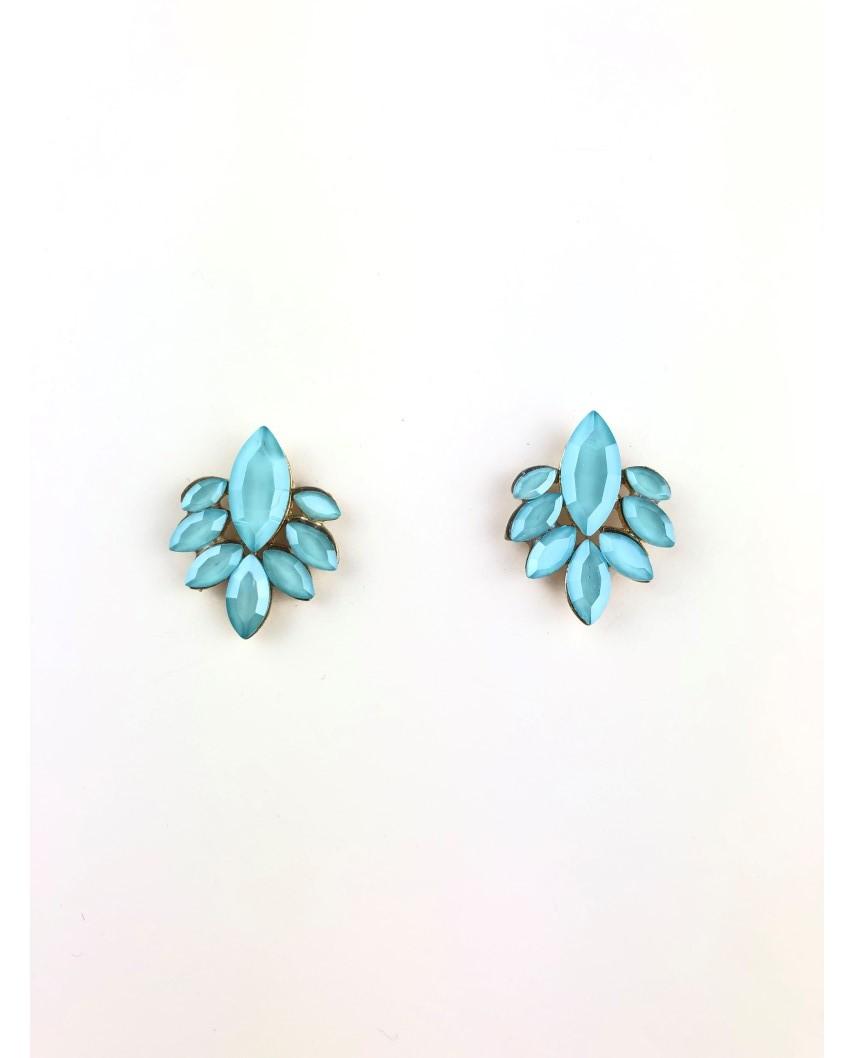 kokodol.com - Pendientes Botón Flor azul