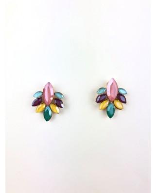 kokodol.com - Pendientes Botón Flor multicolor