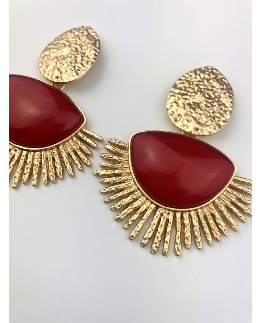 kokodol.com - Pendientes Maxi Stone rojo