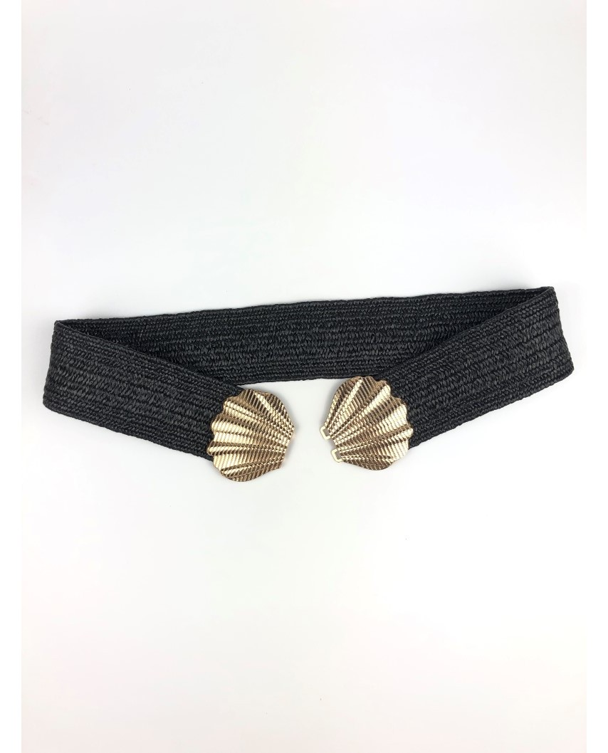 kokodol.com - Cinturón Rafia Conchas negro