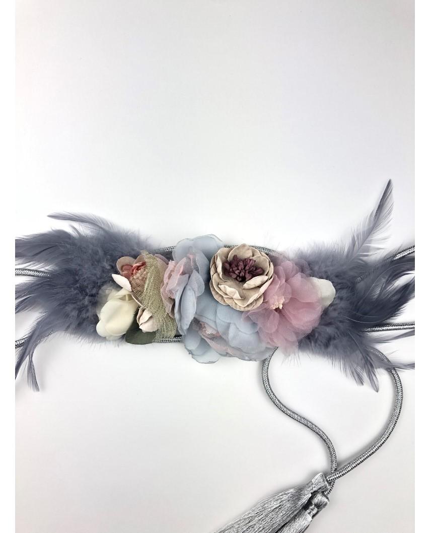 kokodol.com - Cinturón flores plumas Ruth gris