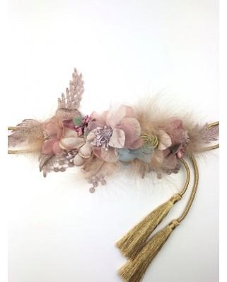 kokodol.com - Cinturón flores plumas Gemma nude